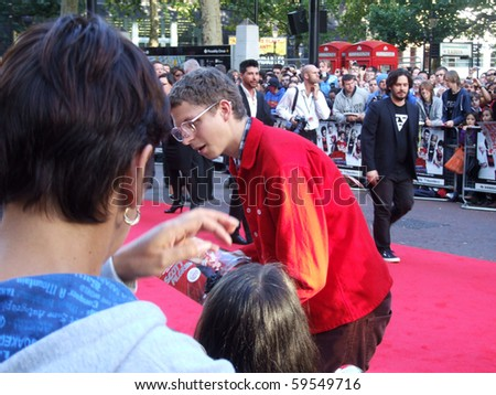 LONDON - AUGUST 18: Michael Cera at Scott Pilgrim Vs The World Premiere August 18th, 2010 in Leicester Square London, England.