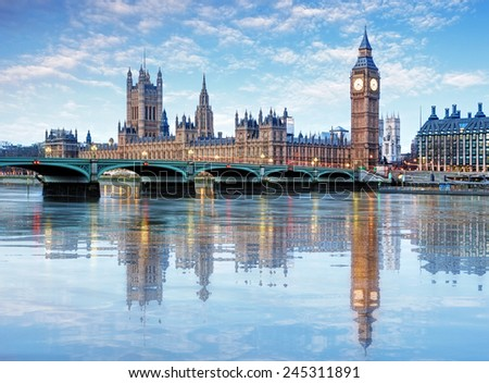 London - Big ben and houses of parliament, UK #245311891