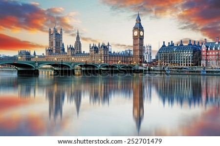London - Big ben and houses of parliament, UK #252701479
