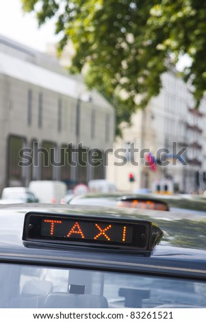 London black cab sign showing 'for hire'