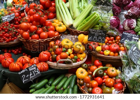 London Borough Market - tomatoes, cucumbers and celery at a marketplace stall. Сток-фото ©