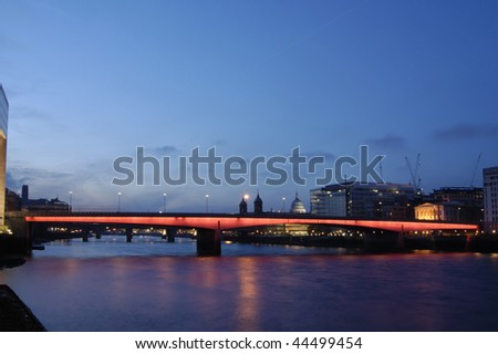 London Bridge at dusk from the South Bank
