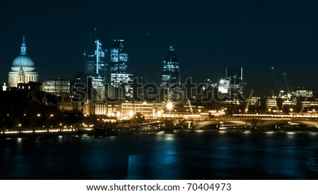 London by night. St Paul's Cathedral and financial district, Blackfriars Bridge