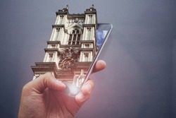 London church, 3D pop out effect. Photoshop manipulation