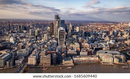 London city area skyline and buildings aerial photograph