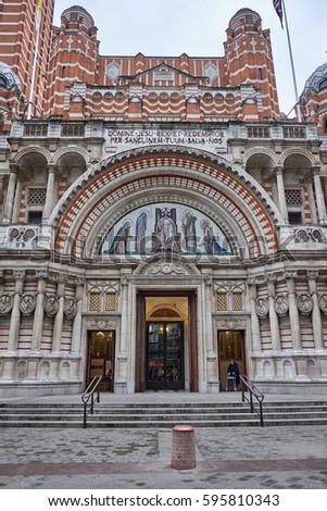 LONDON CITY - DECEMBER 23, 2016: Stairs and entrance to Westminster Cathedral in London City #595810343