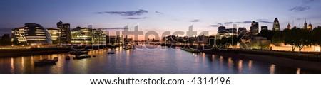 London city skyline panorama from tower bridge