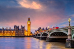 London city skyline with Big Ben and Houses of Parliament, cityscape in UK  England