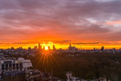 London city stunning colorful sunrise, high vantage point of view