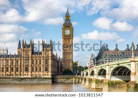 London city travel holiday background. Big Ben and Houses of parliament with Westminster bridge in London, England, Great Britain, UK. #1013811547
