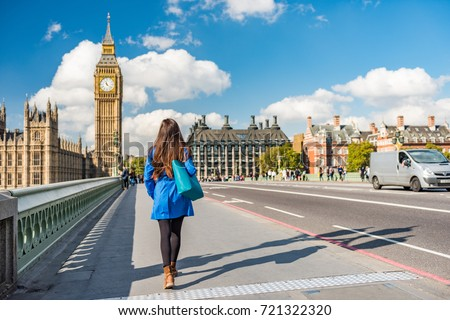 London city urban lifestyle tourist woman walking. Businesswoman commuting going to work on Westminster bridge street early morning. Europe travel destination, England, Great Britain, UK.