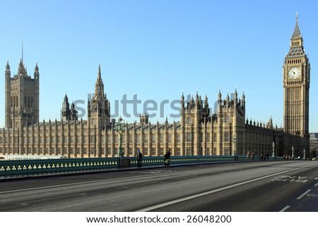 London cityscape showing Big Ben and Westminster