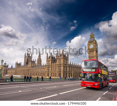 London Classic Red Double Decker Buses on Westminster Bridge