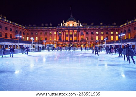 LONDON - DEC. 14 : ice skating Christmas rink pictured on December 14th, 2014, in London, England. The ice skating rink at Somerset house opens every year in December at Christmas time in London.