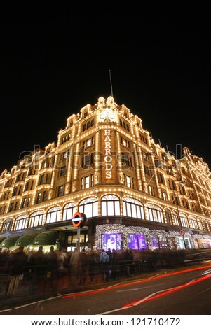 LONDON - DEC 8 : Night View of Harrods with christmas decoration on Dec 8, 2012, London, UK. This department store was opened at 1824 and now it is one of the most famous luxury store in London.