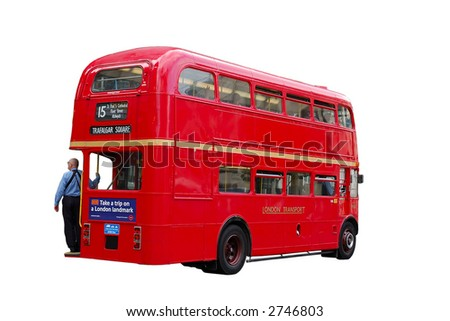London Double-Decker Bus isolated on white Background with clipping-path included
