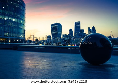 London downtown skyline at twilight, vintage effect photo #324192218
