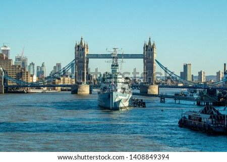 London England April 20th 2019 The river Thames showing city skyline and featuring HMS Belfast and Tower Bridge