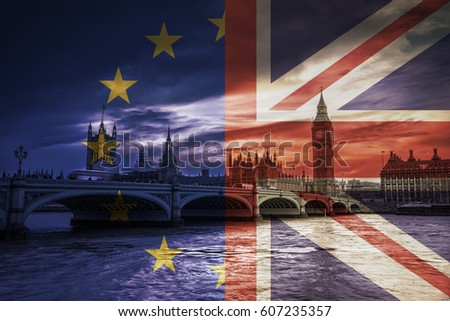 London, England - European Union and United Kingdom flags over Westminster Bridge with Houses of Parliament and Big Ben and dark clouds at background