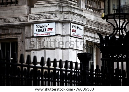 LONDON, ENGLAND FEB 17: Downing Street is the official office of the British Prime minister on Feb 17, 2012 in London, United Kingdom. - stock photo