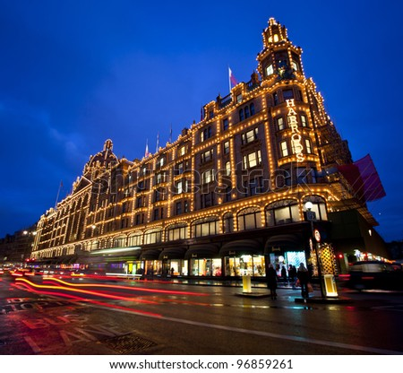 LONDON, ENGLAND FEB 13: Famous Harrods of London department store on Feb 13, 2012 in London, United Kingdom.