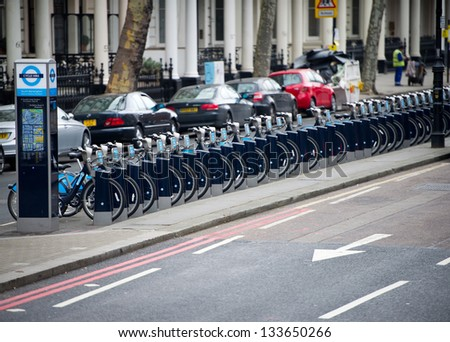 LONDON, ENGLAND - FEB 17: London push bikes on February 17th, 2012 in London, England. London's bicycle sharing scheme sponsored by Barclay's, launched in 2010 with 6,000 bikes and stations in London.