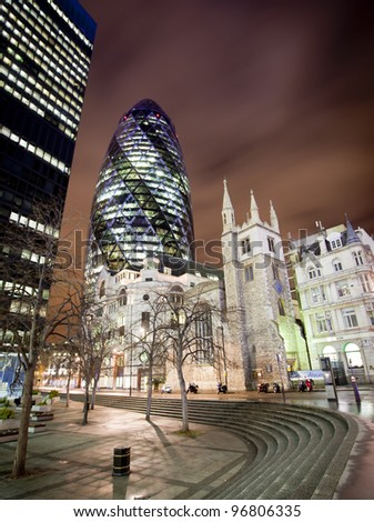 LONDON, ENGLAND FEB 13:The famous Gherkin or Swiss RE building on Feb 13, 2012 in London, United Kingdom.