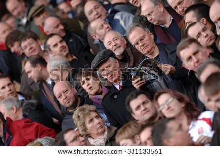 LONDON, ENGLAND-FEBRUARY 10, 2007: english rugby fans at the Twickenham stadium during the Six Nations rugby match England vs Italy, in London. #381133561