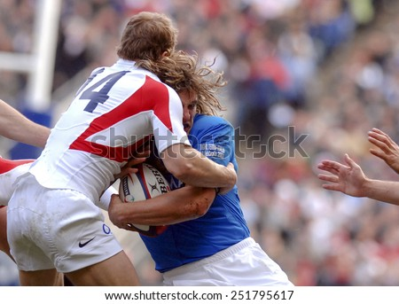 LONDON, ENGLAND-MARCH 18, 2007: italian rugby player Mirco Bergamasco in action  during the Six Nations rugby match England vs Italy, in London.