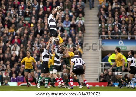LONDON, ENGLAND. 26 NOVEMBER 2011.  Barbarians win a lineout during the Killik Cup, rugby union match between the Barbarians and Australia, played at Twickenham Stadium.