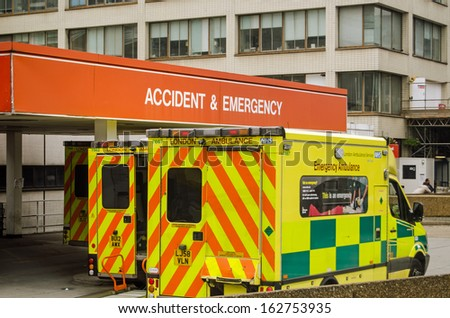 London, England - September 21: Ambulances Outside The Accident And Emergency Entrance Of St Thomas\' Hospital In Central London On September 21, 2013. Pressure On The Nhs Is Increasing This Winter.