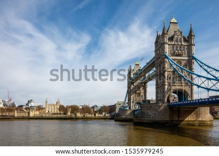 London England, view of Tower Bridge and the river Thames.