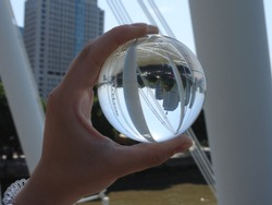 London Eye and Thames in crystal ball,  refraction photography.  Part of a serie