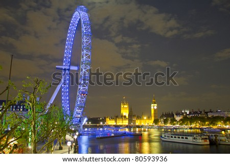 London eye, Big Ben and Houses of Parliament by night