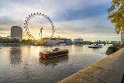 London eye known as millennium wheel at sunrise: London,England-March 2016