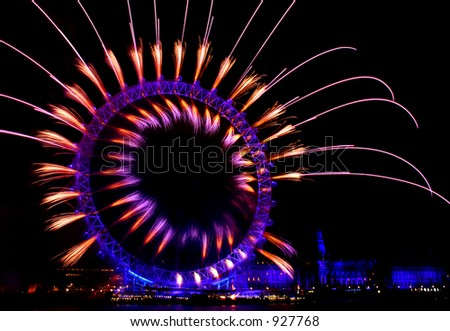 london eye light show and firework during new year eve