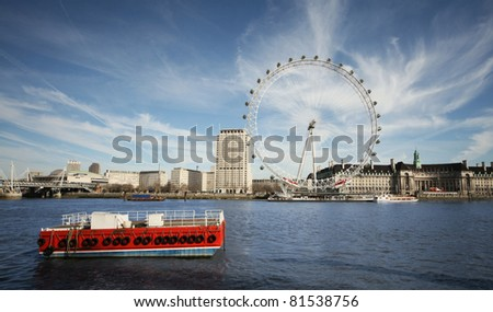 London Eye, view from opposite shore front