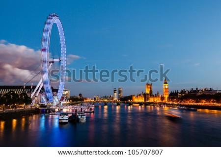 London Eye, Westminster Bridge and Big Ben in the Evening, London, United Kingdom