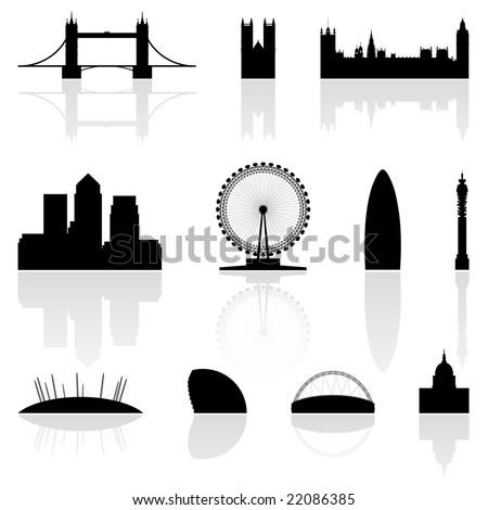 London famous landmarks isolated on a white background