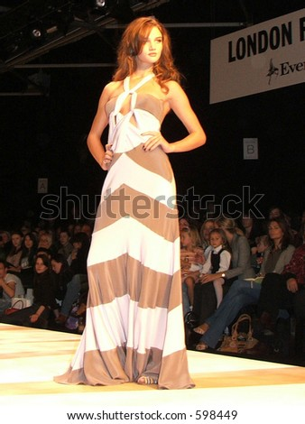 London Fashion Week S/S 06. A piece from Amanda. Model Rosie Huntington-Whiteley