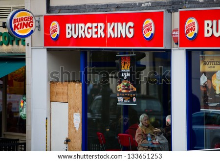 LONDON-FEB 17: Burger King Restaurant on Feb. 17, 2012 in London, United Kingdom. Burger King Worldwide Inc. is the second largest fast food hamburger chain in the world.