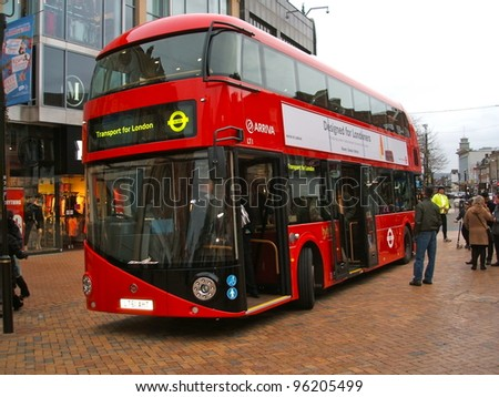 LONDON - FEBRUARY 27: The much heralded hybrid  'New Bus For London' started service on route 38. It is 50% more fuel efficient than existing diesel buses. February 27, 2012.