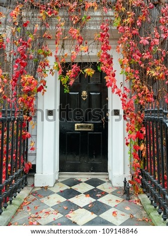 London: front door in a classic Victorian mansion.