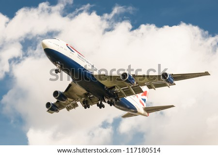 LONDON, HEATHROW, UK - OCTOBER 30:  After skirting Hurricane Sandy during its trans-atlantic flight, a British Airways Boeing 747 lands at London Heathrow International Airport, UK on October 30, 2012
