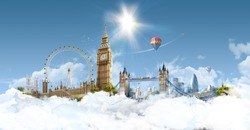London Heaven - photographic composition of famous landmarks of London, UK