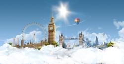 London Heaven - photographic composition of famous landmarks of London, UK