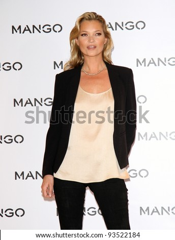 LONDON - JANUARY 25:  British supermodel Kate Moss poses for photographers to launch an advertising campaign for the Spanish high street brand Mango in Oxford Street on Jan 25, 2012 in London.