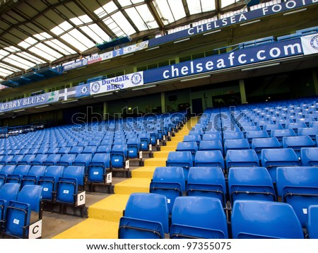 LONDON - JULY 24: Empty seats on a non-match day at the Chelsea FC Stamford Bridge Stadium on July 24, 2011. The stadium capacity is 41,837 making it the eighth largest ground in the Premier League.