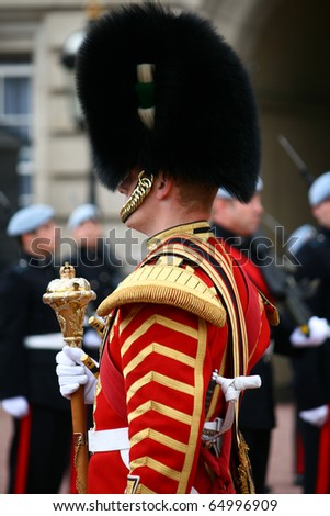 LONDON - JULY 28: Her Majesty's Coldstream Regiment of Foot Guards, also known officially as the Coldstream Guards, performs the Changing of the Guards on July 28, 2009 in London, England.