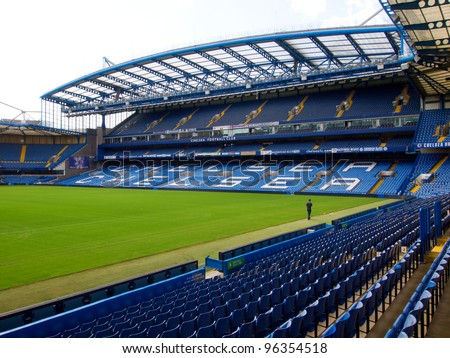 LONDON - JULY 24. On a non-match day at the Chelsea FC Stamford Bridge Stadium on July 24, 2011 in London, England.. The West Stand consists of the Great Hall and the executive boxes known as the Millennium Suites.